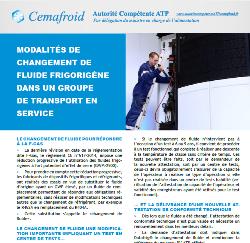 Modalites De Changement De Fluide Frigorigene Dans Un Groupe De Transport En Service